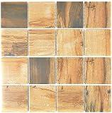 Baldosas de mosaico vintage de madera de cerámica marrón imitación de madera MOS16-2004_f