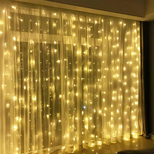 FUN LITTLE TOYS 300 LED 9.8 FT String Lights for Window Curtain Decoration, Battery Operated and Plug in Warm Lights, Christmas Party Bedroom Indoor Outdoor Wall Decoration