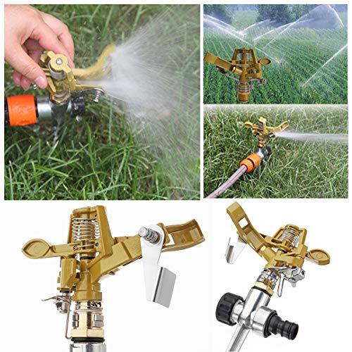 Masun Rasensprenger mit Zinklegierung, 360 Grad Wassersprühschlauch, Bewässerungssystem, Werkzeuge