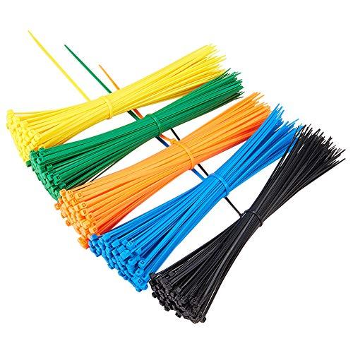 PandaHall Elite - Lot de 1 Sachet Attache de Cable en Plastique Nylon Fixation, Couleur Melangee, 20cm, Environ 100pcs/Couleur