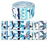 Soimoi 40 Unids Impresión Náutica De Algodón Telas De Precorte Para Acolchar Las Tiras De Artesanía De 2.5 Pulgadas Rollo De Jalea - Azul Medio