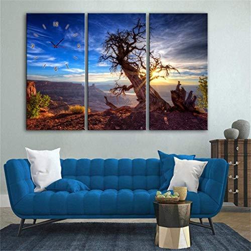MKJ004 Moderne minimalistische creatieve lamp/moderne stijl canvas schilderij mooie tulp wandklok in canvas 2 stuks \\t