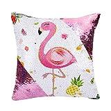 WERNNSAI Funda de Cojín Flamingo - 40 x 40 cm Fundas Cojines de Lentejuelas Rosadas Cuadradas Flores Piña Fundas de Almohada para Sofá Silla(SIN Insertos de Almohada)