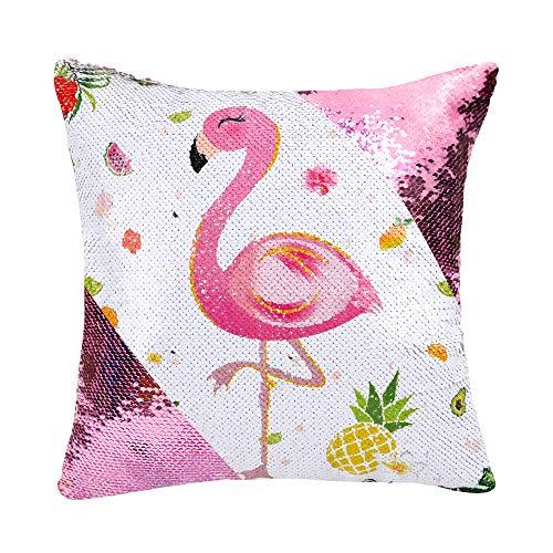 WERNNSAI Flamingo Zierkissenbezüge - 40 x 40 cm Quadratisch Rosa Pailletten Kissenhülle Blumen Ananas Kissenbezüge Kissen Fall Kissenabdeckung für Sofa Stuhl (Keine Kisseneinsätze)