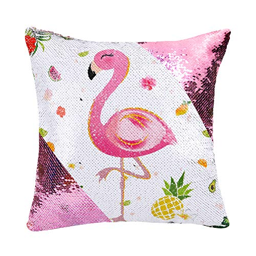 WERNNSAI Funda de Cojín Flamingo - 40 x 40 cm Juego de 2 Fundas Cojines de Lentejuelas Rosadas Sirena Cuadradas Flores Piña Fundas de Almohada para Sofá Silla(SIN Insertos de Almohada)