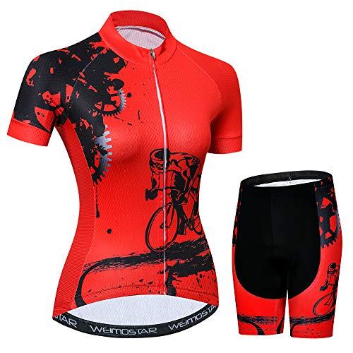 JPOJPO Damen Fahrradtrikot, kurzärmelig, schnelltrocknend, atmungsaktiv, Mountainbike-Oberteil -  Rot -  Mittel