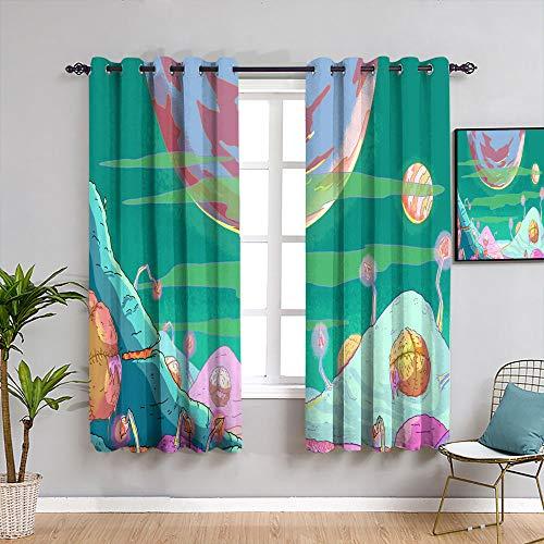 weilan1999 Rick-and-Morty - Juego de cortinas opacas con aislamiento térmico para sala de estar, 160 x 160 cm