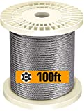 TOYELIU T316-Stainless Steel 1/8'' Aircraft Wire Rope for Cable Deck Railing Kit,Non-Magne...