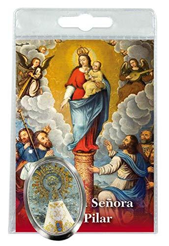 Ferrari & Arrighetti Imán Virgen del Pilar de Metal niquelado con oración en español (Paquete de 3 Piezas)