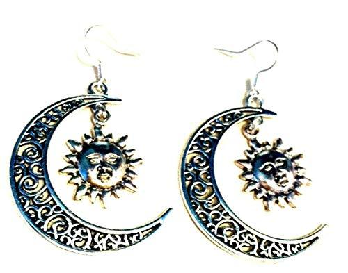 Pendientes de filigrana con diseño de luna y sol en plata de ley con ganchos para planetas Boho Hippy Jewelry