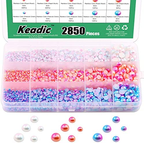 Keadic 2850 Pieces Gradient Imitation Pearls Half Round Pearls Assorted Mixed Sizes 3 4 5 6 product image