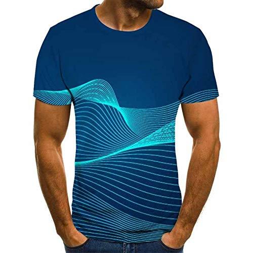 3D Impreso Camisetas,Creativo Cuello Redondo Manga Corta Tops Novedad Rayas Rayas Estampado Sudadera Ilusión Óptica Casual Streetwear Transpirable Para Mujeres Hombre Deportes De Interior Al Aire