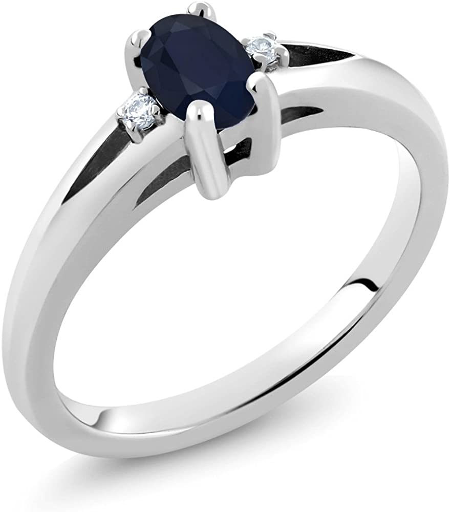 Gem Stone King 925 Sterling Silver and Ranking TOP15 Diamo Blue Sapphire White Tampa Mall