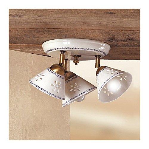 Lámpara de techo con tres luces perforadas y adornada con rústico country – Ø 23 cm – Bianco (nessun decoro)