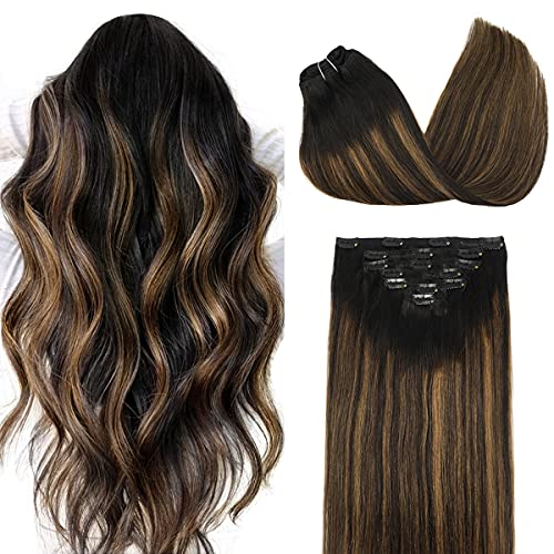 DOORES 7 pcs Clip in Hair Extensions Balayage Natural Black to...