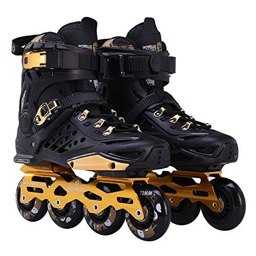 Inline Rollschuhe Für Erwachsene,Adult Fitness Roller Blades Mit Atmungsaktiven Löchern Unter Den Schuhen,Quad-Skates Für Outdoor-Sportarten,Halten Sie Ihre Füße Von Nass Fern,Black-35