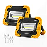 PILITO 2 COB 1500LM LED Work Light, Rechargeable Floodlights for Outdoor Camping Hiking Emergency Car Repairing and Job Site Lighting with Warning Mode (2 Pack)
