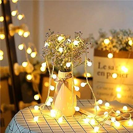 Cadena de Luces Guirnalda de Luces 5M 50LED Impermeable con Controlador Remoto 8 Modos de Luz Blanca Cálida para Jardines Casas Patios Bodas Fiesta de Navidad