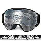 Extra Mile Ski Goggles, Snow Sports Goggles Snowboard Snowmobile Skate Motorcycle Riding, Dustproof Scratch Resistant, Double Anti Fog UV400 OTG Over Glasses Helmet Compatible Men Women Youth Unisex