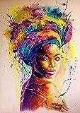 Puzzle 1000 piezas Pintura de arte de mujer africana pintada puzzle 1000 piezas animales educativo divertido juego familiar para niños adultos Rompecabezas de juguete de desco50x75cm(20x30inch)