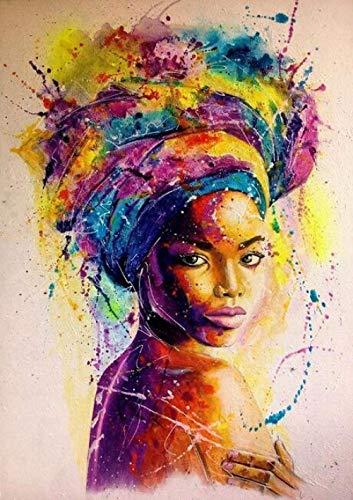JRGGPO Mujer Africana Colorida Abstracta Kit de Pintura de Diamante 5D Niños Adulto Regalo Mosaico de Diamantes para decoración de la Pared del hogar(40x50cm Diamante Cuadrado)