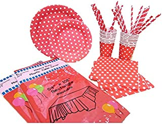 Party Combo Pack Red and White Polka Dot Paper Set For 16 Guest, 178 Pieces.Includes 32 Forks,16 Spoons, 16 Knives, 16 9