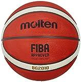 Molten BG2010 Baloncesto, Interior/Exterior, Aprobado por Fiba, Caucho Premium, Canal Profundo, tamaño 7, Naranja/Marfil, Adecuado para niños de 14 años y Adultos