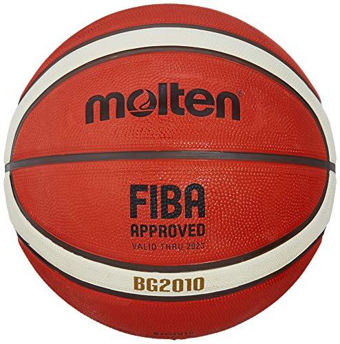 Molten BG2010 - Pallone da basket per interni/esterni, approvato FIBA, in gomma premium, canale profondo, taglia 7, arancione/avorio, adatto per ragazzi di età 14 anni e adulti