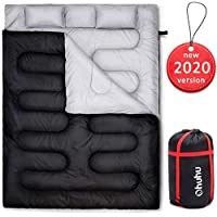 Ohuhu 220x150cm Saco de Dormir Doble Enorme con 2 Almohadas Gratis y una Bolsa de Transporte, Cuatro Doble Tiradores de la Cremallera - Temperatura Cómodo: -6° C / 20F ~ 10 ° C / 50F (Negro)