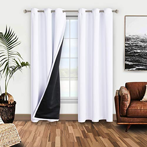 WONTEX 100% White Blackout Curtains for Bedroom 42 x 84 inches Long - Thermal Insulated, Noise Reducing, Sun Blocking Lined Window Curtain Panels for Living Room, Set of 2 Grommet Winter Curtains