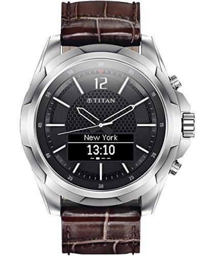 HP Titan - Reloj inteligente para hombre (acero inoxidable, con correa marrón)