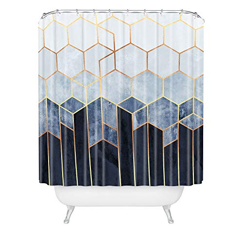 "Society6 69820-shocur Elisabeth Fredriksson Soft Blue Hexagons Shower Curtain, 72"" x 69"" x 0.1"""