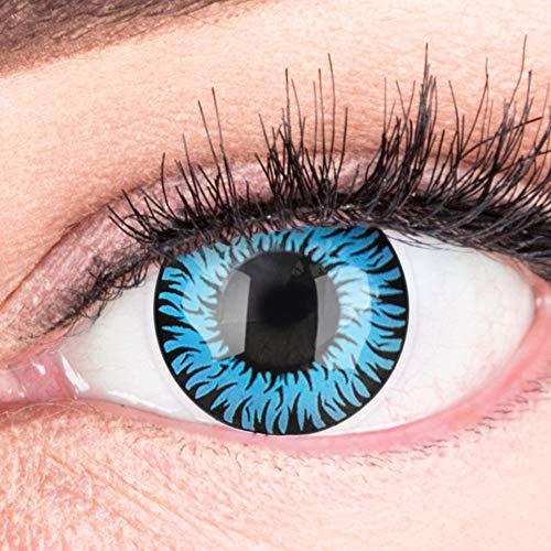 Farbige Blaue Kontaktlinsen Anime Werewolf Blue Circle Lenses Ohne Stärke Heroes Of Cosplay Stark Deckend Intensive Farben mit gratis Kontaktlinsenbehälter farbig für Halloween Fasching