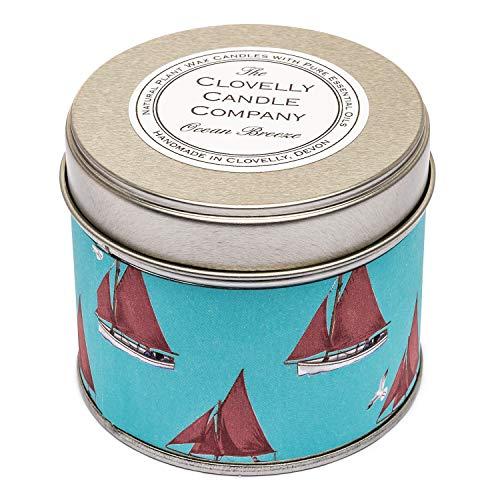 Clovelly Soap Candela profumata Naturale alla brezza Marina, Cera di soia per aromaterapia, vegana, in Barattolo di Latta