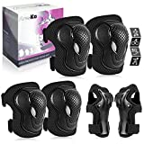 AresKo Kids/Youth Protective Gear Set, Kids Knee Pads and Elbow Pads Wrist Guard Protector 6 in 1 Protective Gear Set for Scooter, Skateboard, Bicycle, Inline Skating