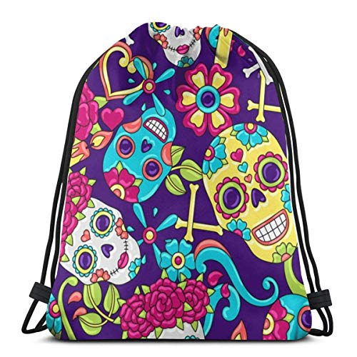 Gym Drawstring Bags Backpack Sugars Skull Sackpack Tote For Sport Storage Shoe Organizer School Shoulder Shopping Adults