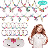 BAOQISHAN 25PCS Girls Beaded Unicorn Necklace and Bracelet Toddler Costume Jewelry Set Jewelry Girls Play Dress Up Pretend Play Jewelry Kit Party Favors Unicorn Gift Bag