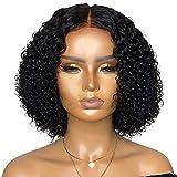 xiaowang Kurze, gelockte Perücke, schwarz, Lace-Front, Echthaar-Perücke, Mittelteil, gelockt, Lace-Verschluss, Naturhaar-Perücken für Frauen, tägliche Party-Perücken (A)