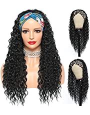 Water Headband Wig Synthetic Curly Headband Wigs for Black Women 180% Density Water Wave Long Curly Headband Wigs Natural Color