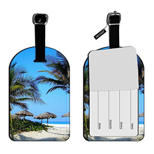 Nicokee Tropical Beach Resort-Palm Tree Sand Luggage Tags Suitcase ID Travel ID Label Leather for Baggage