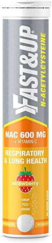 Fast Up NAC N Acetylcysteine Vitamin C Lungs Protective Supplement Respiratory Lung Health and Liver Detox Strawberry Flavour 20 Effervescent Tablets