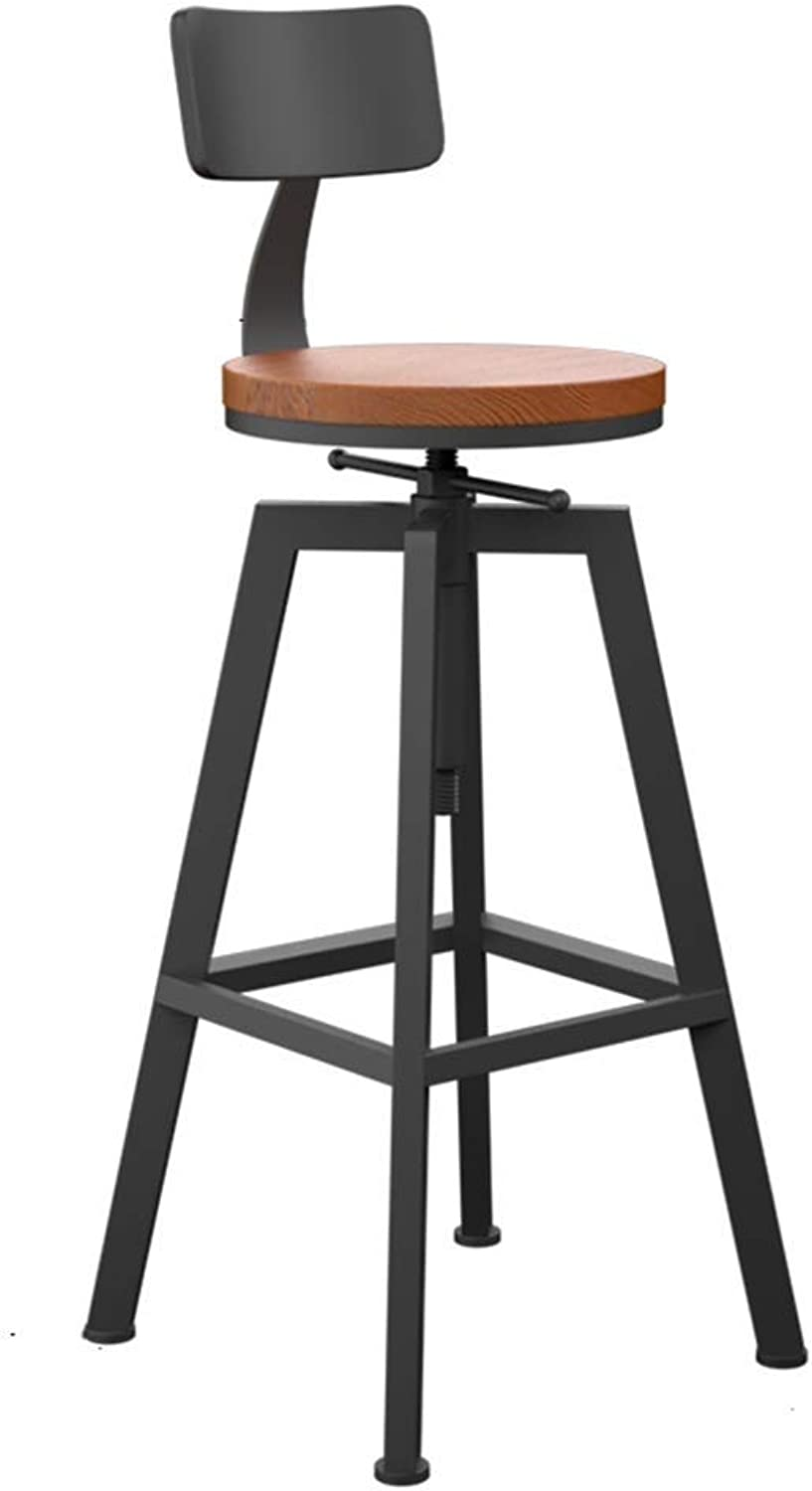 Stool Simple Bar Wrought Iron High Solid Wood Bar Round redating Lift Modern Bar Chair Comfortable and Durable GFMING (color   B)