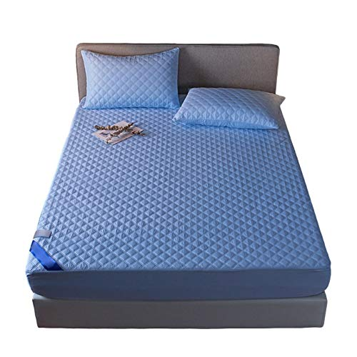 Fitted Sheets Queen Size Cotton Bed Mattress Pad Protector Cover Soft Deep Pockets Shrinkage & Fade Resistant Easy Care Fitted 25cm Deep (Color : Blue, Size : 90x200cm)