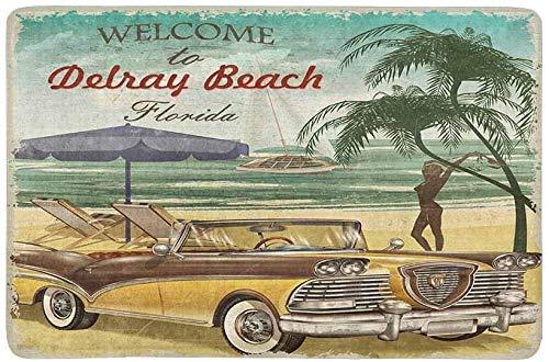 Quafoo Willkommen bei Florida Retro Poster mit Strandauto und Palmen Fußmatte rutschfeste Innen- / Außenbodenmatte Wohnkultur, Türmatte Eingangsteppich Gummirücken 23,6