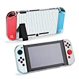 SUPNON Carry Case Compatible with Nintendo Switch, Ultra Slim Hard Shell, Protective Carrying Case for Travel - Blue Pillow Ticking Stripe Background Design20694