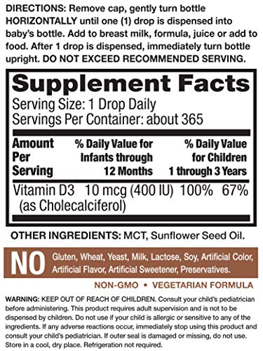 Nature's Truth Vitamin D Drops for Infants | 400 IU | 9.2 mL | D3 Drops for Kids | Vegetarian, Non-GMO, Gluten Free
