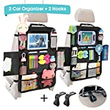 Car Back Seat Organizer - Universal Car Seat Back Protectors Kick Mats with 12 Storage Pockets Touchable Tablet Holder for Kids Baby vehicle organizer, 2 Pack Car Seat Organizers+ 2 Car Headrest Hook