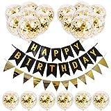 Juego de globos de látex natural con lentejuelas doradas para fiestas con temática de cumpleaños