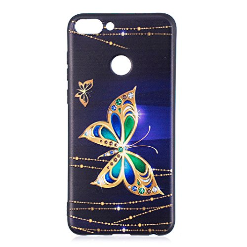 Huawei P Smart Case, Asnlove 3D Relief Prints TPU Gel Cover, Premium Shockproof Back Skin Shell with  Anti-Slip]  Ultra-Thin] for Huawei P Smart Smartphone, Gold Butterfly