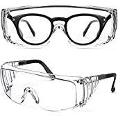 RONWEIX Anti-Fog Over-Glasses Safety Glasses - with Clear Anti-Scratch Wraparound Lenses, Adjustable Arms